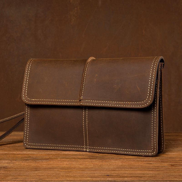 Cool Brown Mens long Wallet Wristlet Bag Clutch Wallet Envelope Wallet Mobile Bag for Men