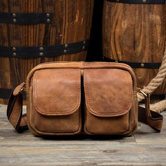 Khaki Leather 10 inches Mens Small Messenger Bag Brown Courier Bags Postman Bag for Men