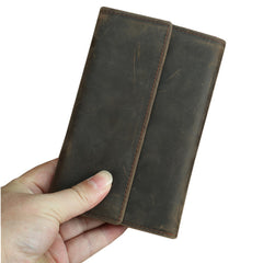 Brown Vintage Simple Long Wallet Leather Mens Dark Brown Trifold Card Wallet Light Brown Business Wallet For Men