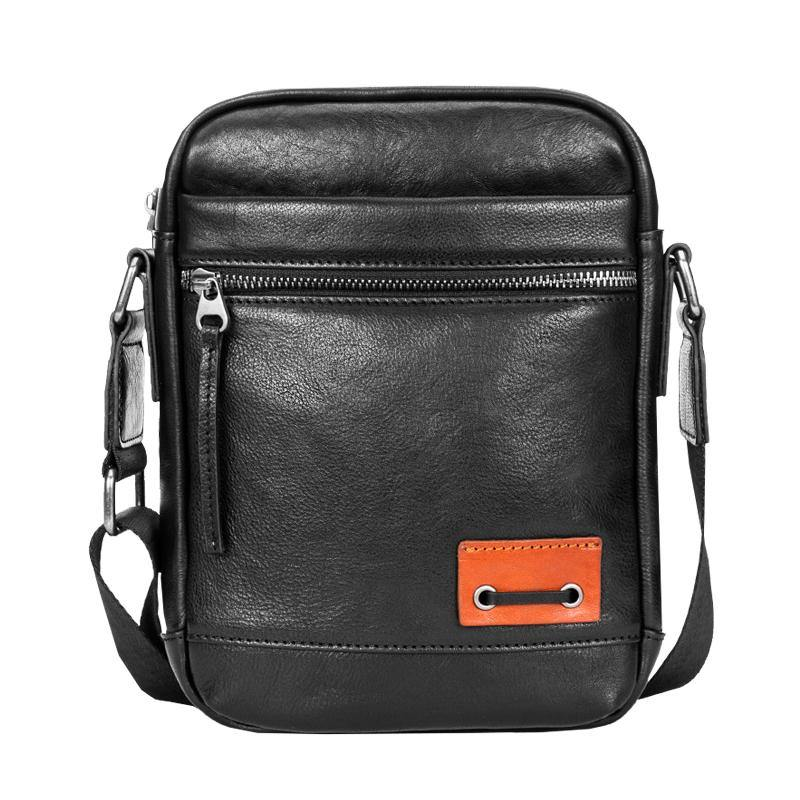 Black Small Leather Mens Vertical Side Bag Black Mini Postman Bag Messenger Bags Phone Bag for Men