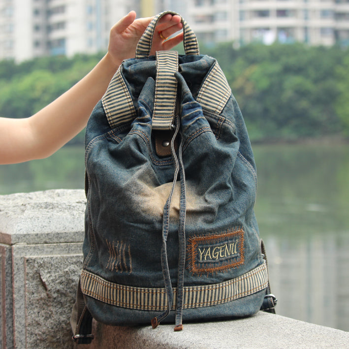 Denim Blue Mens Womens Large Barrel Backpack Laptop Backpack Bucket Jean Travel Backpacks For Men