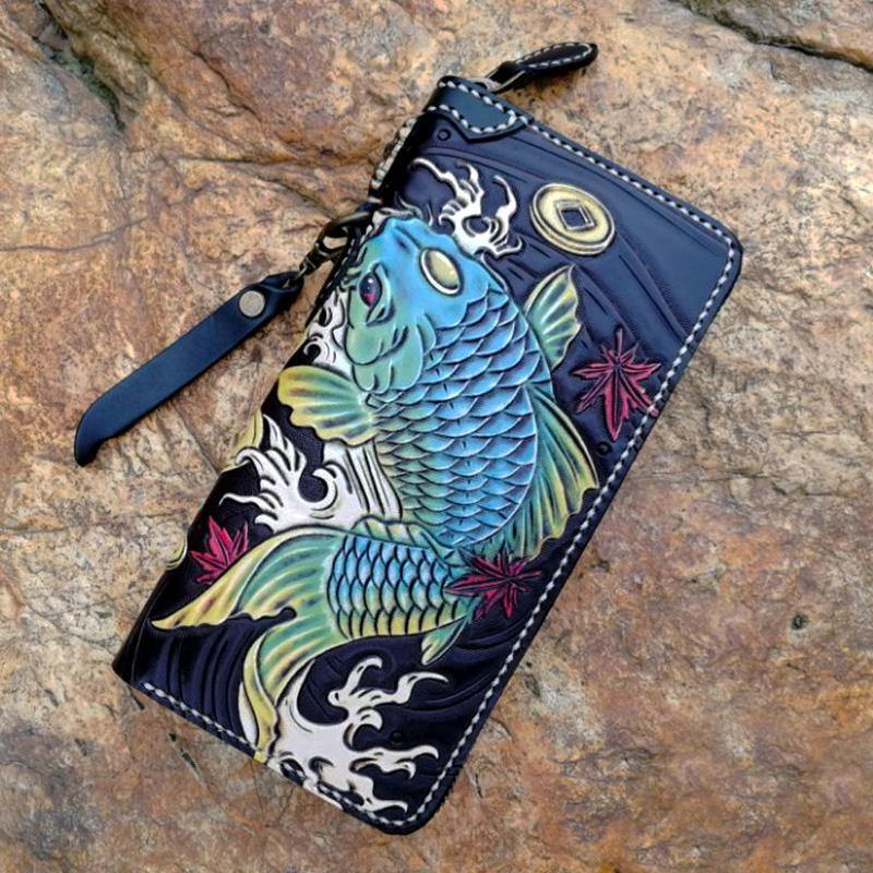 Black Handmade Double Carp Tooled Leather Long Biker Wallet Chain Wallet Clutch Wallet For Men
