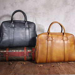 Brown Leather Mens 14 inches Business Laptop Work Bag Handbag Briefcase Dark Gray Shoulder Bags Messenger Bags For Men