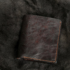 Handmade Dark Coffee Leather Mens Vertical Small Wallet Cool billfold Wallet Bifold Slim Wallet For Men