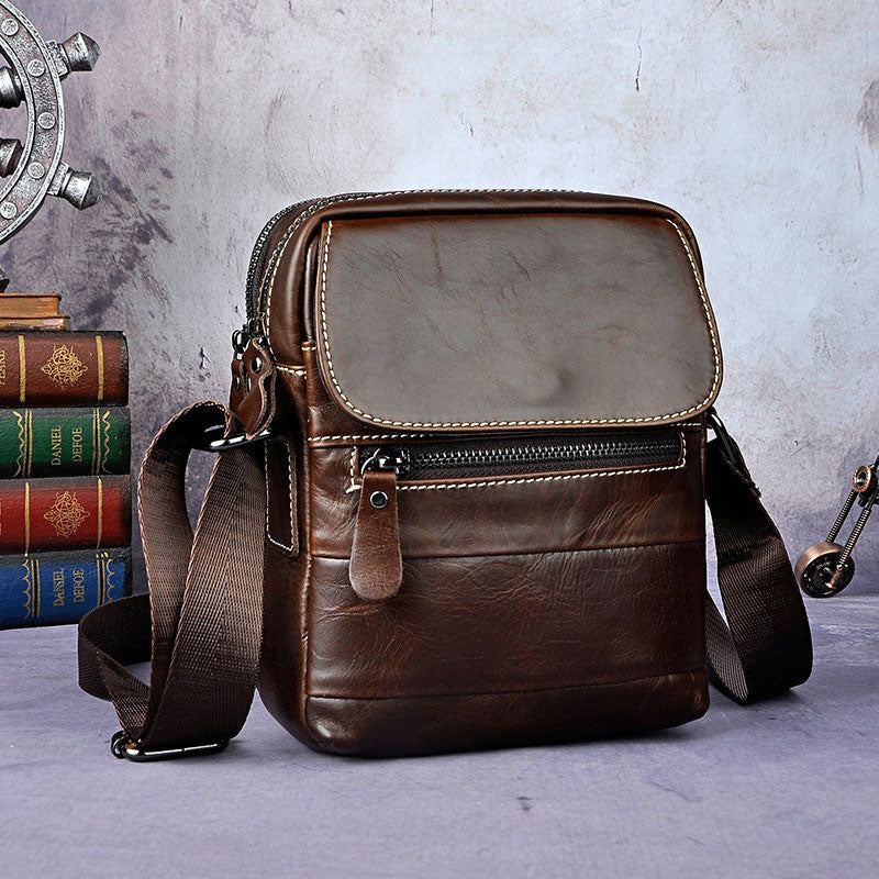 4bf574f267f4 Cool Small Coffee Leather Mens Side Bag Messenger Bag Shoulder Bag for Men