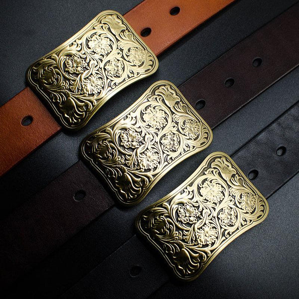 Handmade Genuine Leather Punk Rock Chinese Floral Mens Cool Men Biker Trucker Leather Belt