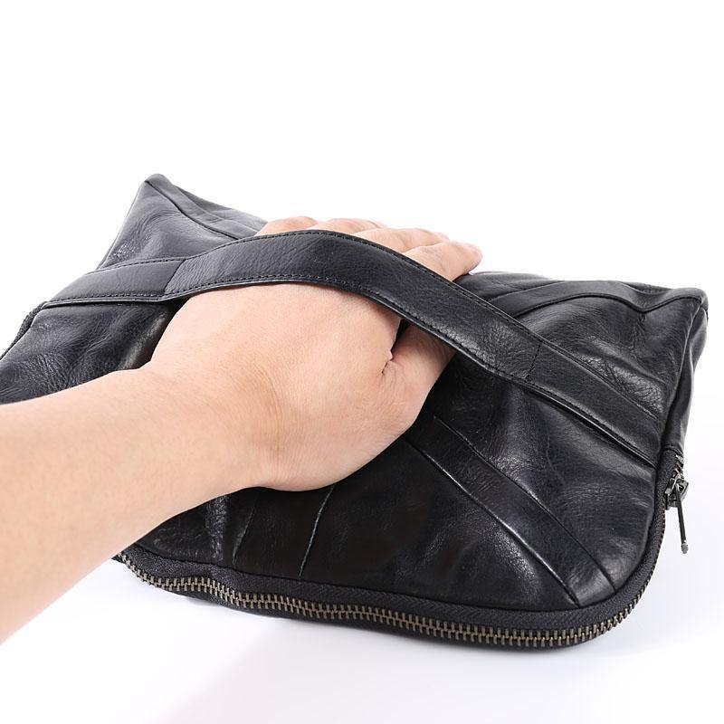 Cool Black Leather Business Mens Clutch Black Hand Bag Great Britain Zipper Clutch Wristlet Large Clutch for Men
