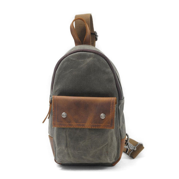 ee3dcad9a507 Cool Waxed Canvas Leather Mens Chest Bag Sling Bag One Shoulder Packs for  men