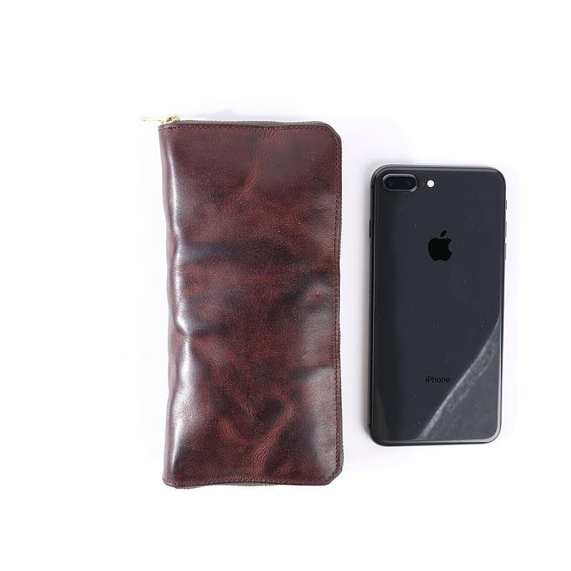 Cool Leather Mens Coffee Long Wallet Zipper Clutch Bag Phone Wallet Long Wallet For Men