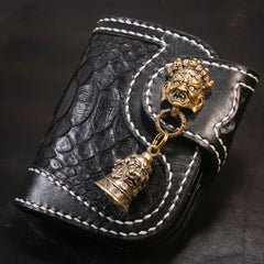 Handmade Leather Short Mens Chain Biker Wallet Cool Boa Skin Wallet With Chain Wallets for Men