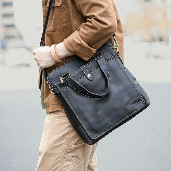 Vintage Black Mens Leather Vertical Briefcases Work Handbag Brown 10'' Computer Briefcases For Men