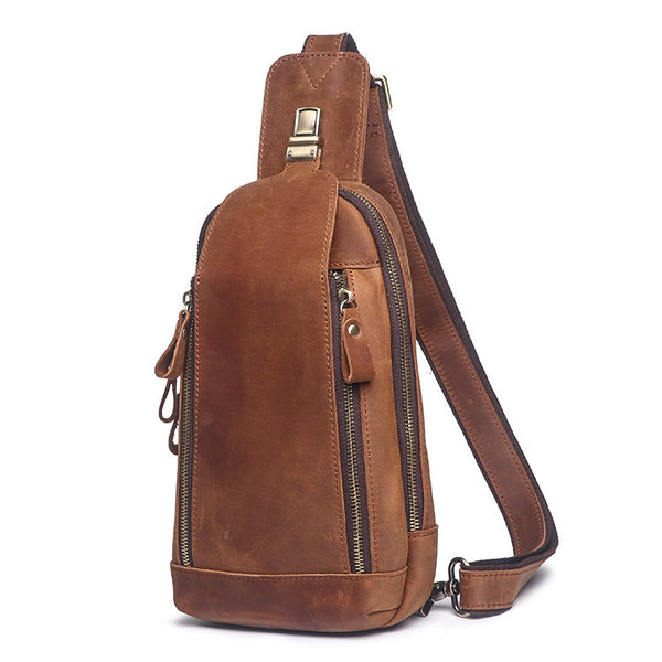 Cool Brown Leather Men's Sling Bag Chest Bag One-Shoulder Backpack For Men