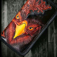 Handmade Leather Men Tooled Eagle Cool Leather Wallet Long Phone Clutch Wallets for Men