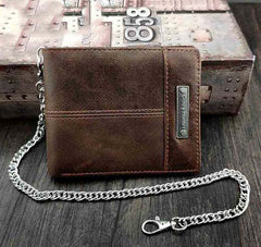 Badass Brown Leather Men's Bifold Small Biker Wallets Chain Wallet Brown Wallet with chain For Men