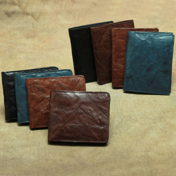 Vintage Brown Leather Men's Bifold Small Wallet Black Slim Vertical Short Wallet For Men