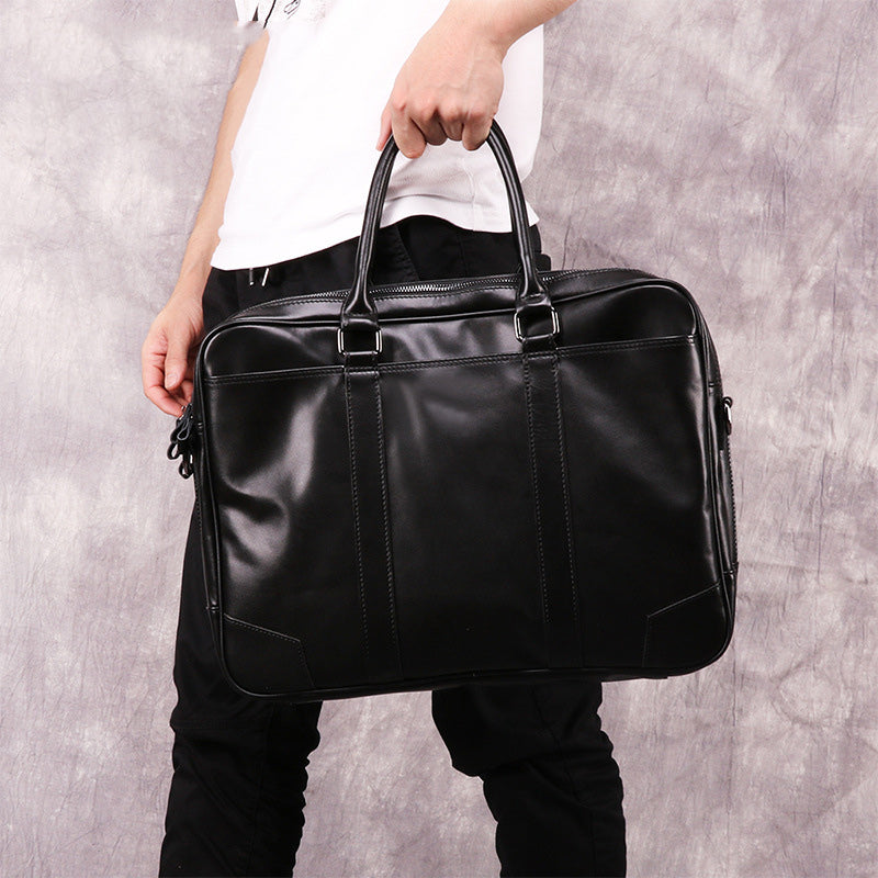 Black Leather Mens 15.6 inches Laptop Work Bag Handbag Briefcase Black Shoulder Bag Business Bags For Men
