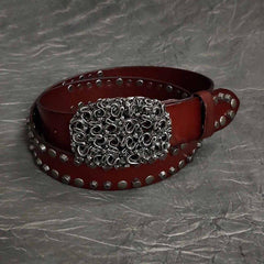 Badass Mens Brown Leather Snake Rivet Rock Punk Belt Motorcycle Belt Leather Belt For Men