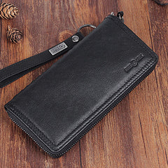 Genuine Leather Mens Cool Long Leather Wallet Zipper Clutch Wristlet Wallet for Men