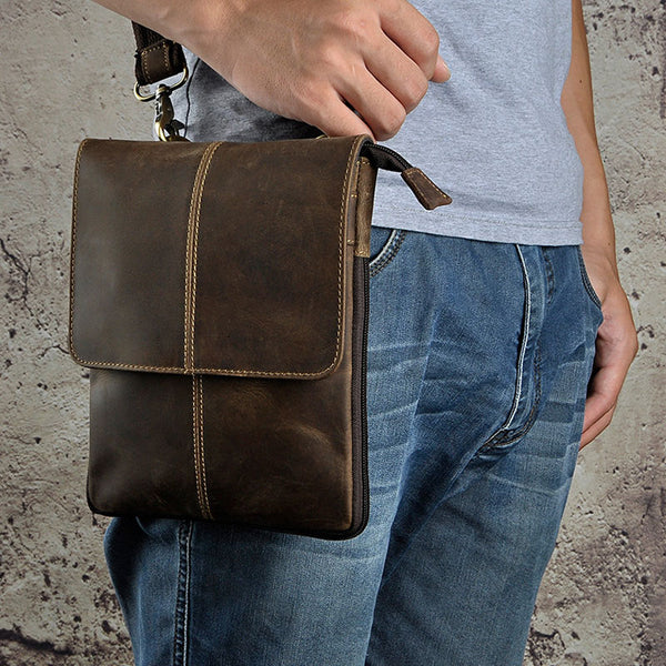 Mens Leather Small COURIER BAG Side Bag Waist Pouch Holster Belt Case Belt Pouch for Men