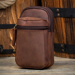 Dark Brown Leather Mens Cool Brown Waist Bag Phone Bag Belt Pouch Belt Bag For Men
