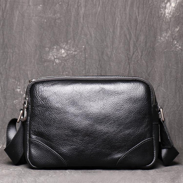 Black LEATHER MENS Small SIDE BAGS COURIER BAG Black MESSENGER BAG FOR MEN