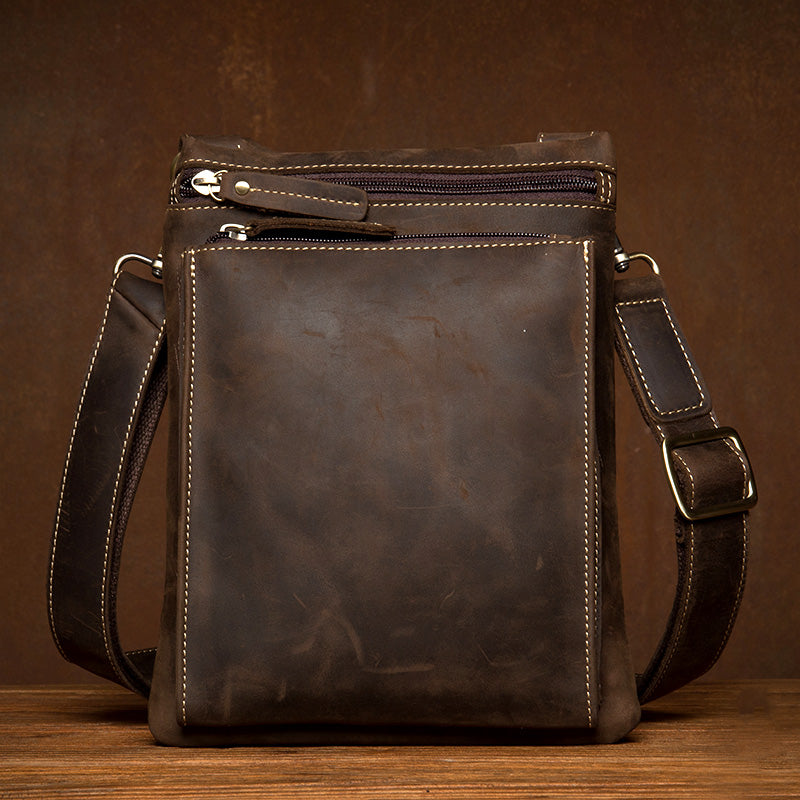 Dark Brown Cool Leather Small Vertical Side Bag Messenger Bags Courier Bag for Men
