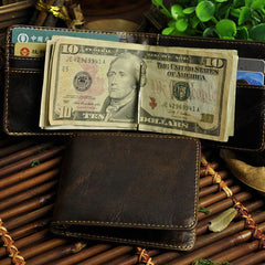 Cool Leather Mens Slim Small Wallet Money Clip Front Pocket Wallet for Men