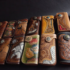 Tooled Handmade Leather Mens Long Biker Wallets Chain Wallet Biker Chain Wallets For Men