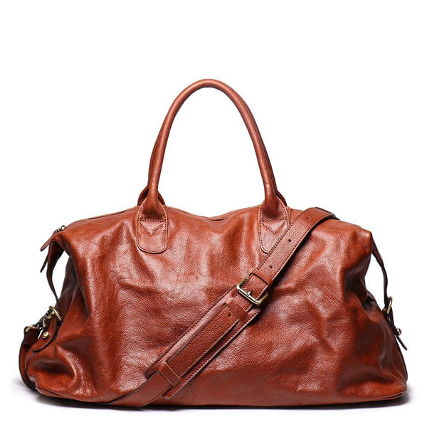 Brown Fashion Leather Mens 15 inches Messenger Bag Large Brown Weekender Bag Duffel Bag For Men