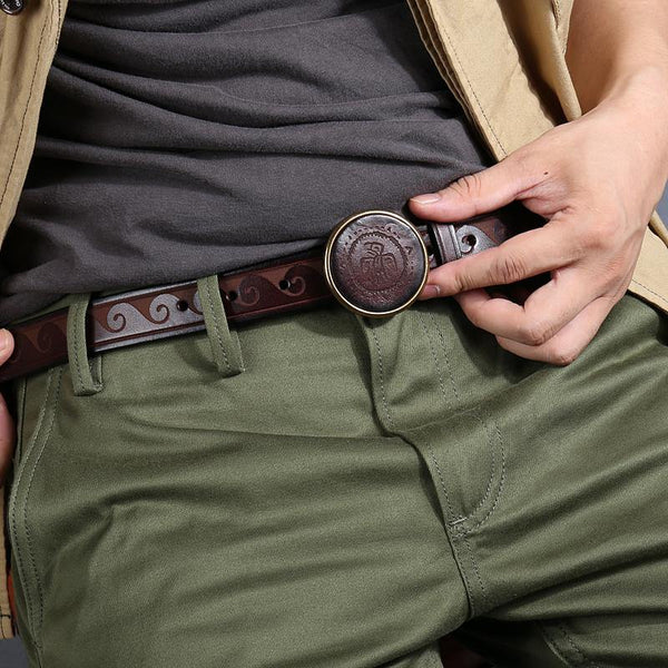 Genuine Tooled Leather Mens Embossed Black Belt Smooth Buckle Belt Brown Around Belt For Men