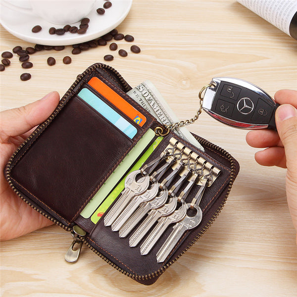 Cool Brown Leather Men's Car Key Wallet billfold Small Key Wallet For Men