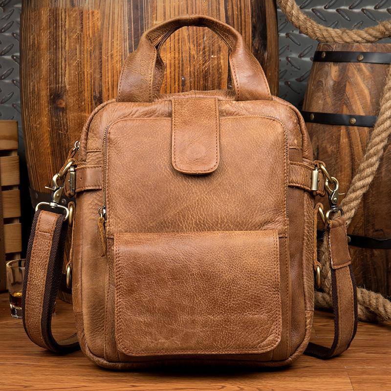 Cool Brown Leather 12 inches Vertical Courier Bags Messenger Bags Camel Postman Bags for Men