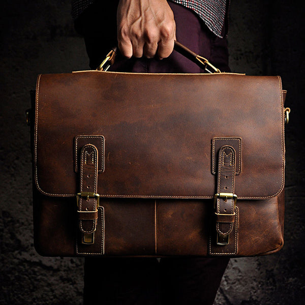 Black Coffee Leather Mens Briefcase Laptop Bag Business Bag Work Bag for Men