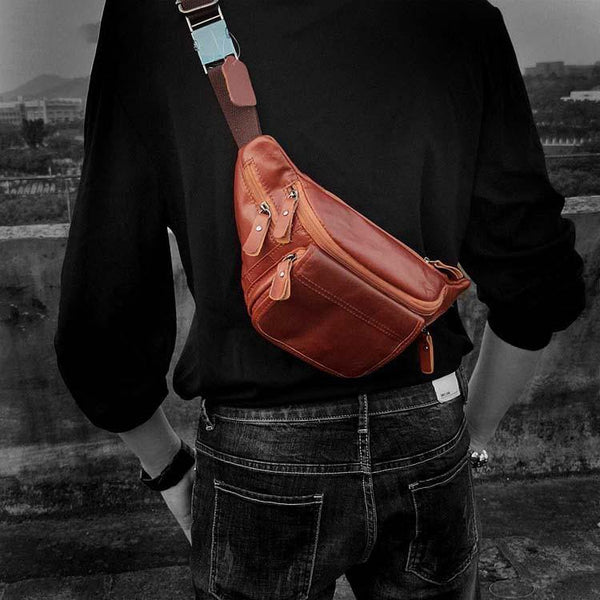 Casual Black MENS LEATHER FANNY PACK FOR MEN Cool BUMBAG Brown WAIST BAGS For Men
