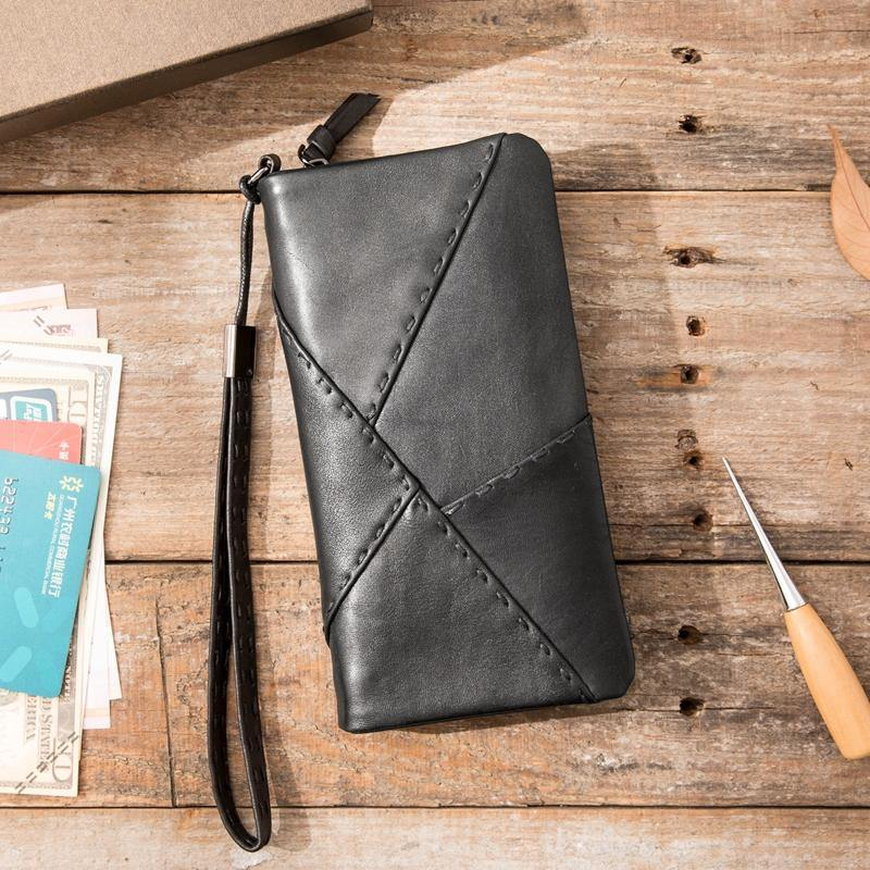 Cool Black Leather Mens Long Wallet Zipper Clutch Wallet Long Wallet Phone Bag Wristlet Wallet for Men