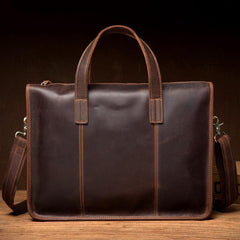 Vintage Dark Brown Leather Mens 12 inches Briefcase Laptop Side Bag Business Bags Work Bags for Men