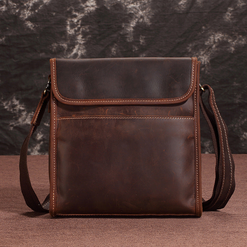 BADASS Brown Leather Mens Vertical Side Bag Messenger BAG SMall Courier Bag FOR MEN