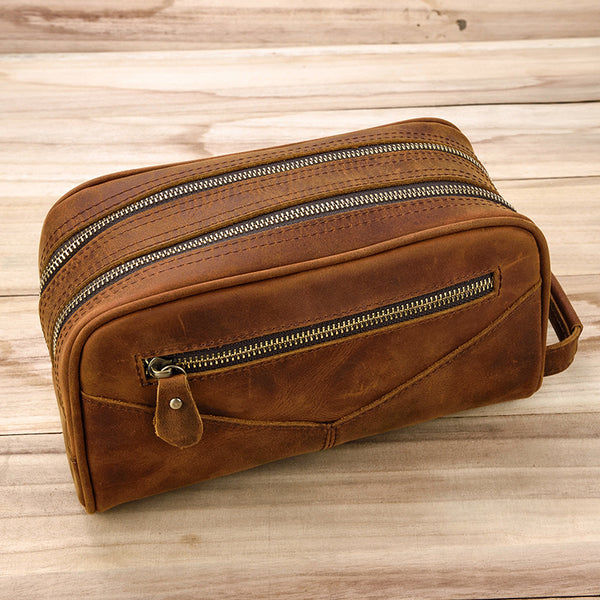 vintage Leather Men's Clutch Bag Double Zipped Small Wristlet Handbag For Men