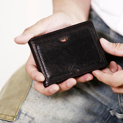 Genuine Leather Mens Cool Black billfold Leather Card Wallet Men Small Wallets License Wallet License Holder for Men
