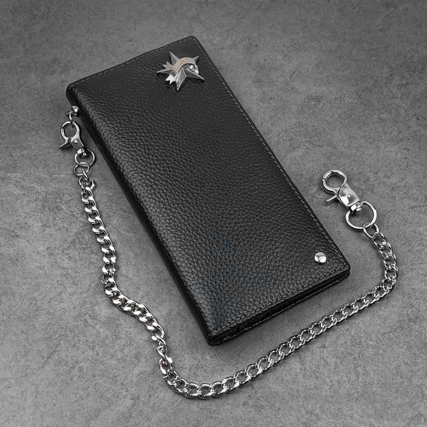 Black Casual Leather Mens Long Wallet Bifold Biker CHain Wallet Biker Wallet Chain Wallet For Men