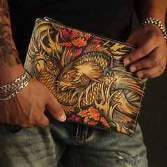 Cool Handmade Tooled Leather Tan Floral Clutch Wallet Wristlet Bag Clutch Purse For Men