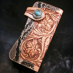 Handmade Mens Cool Tooled Boa Skin Floral Leather Chain Wallet Biker Trucker Wallet with Chain