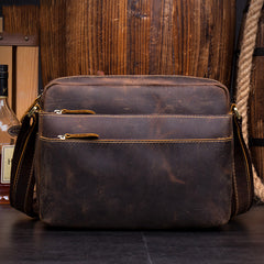 Casual Coffee Leather 10 inches Small Courier Bag Messenger Bags Postman Bags for Men