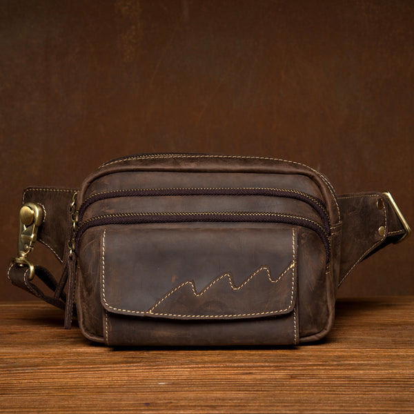 Dark Brown Leather Fanny Pack Mens Waist Bag Hip Pack Belt Bags Bumbags for Men