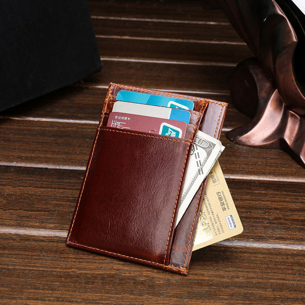 Anti-Theft RFID Leather Men's Ultra Thin Card Wallet For Men