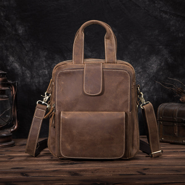 Leather Mens Vertical Work Bag Handbag Brown Vertical Small Briefcase Shoulder Bag For Men