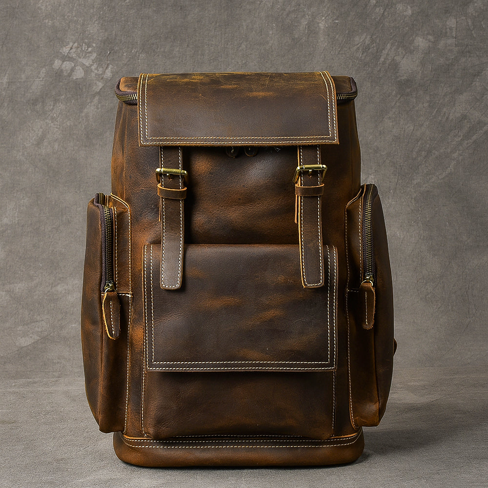 "Brown Leather Mens 15"" Laptop Backpack Travel Backpack Coffee College Backpack for Men"