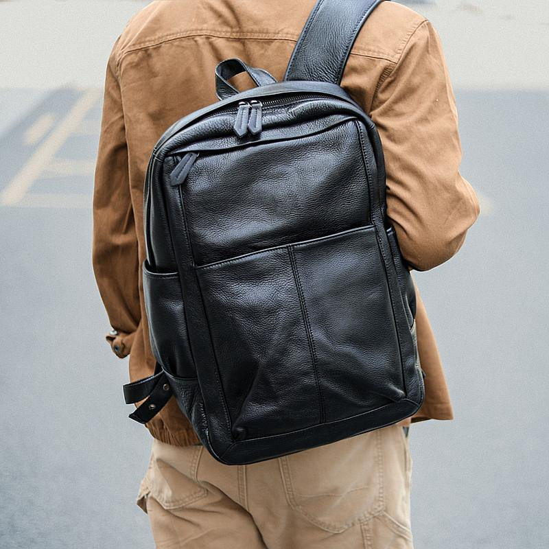 "Black Cool Leather Mens School Backpack College Backpack 15"" Black Computer Backpack For Men"