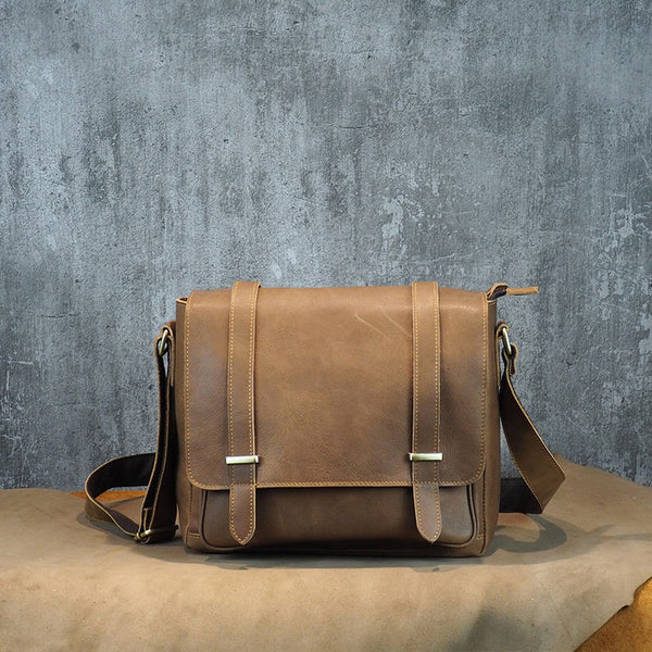 Cool Leather Mens Small Side Bag Small Shoulder Bag Messenger Bag for Men