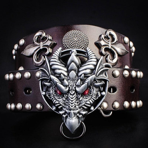 Handmade Genuine Leather Punk Rock Dragon Mens Cool Men Biker Trucker Leather Belt